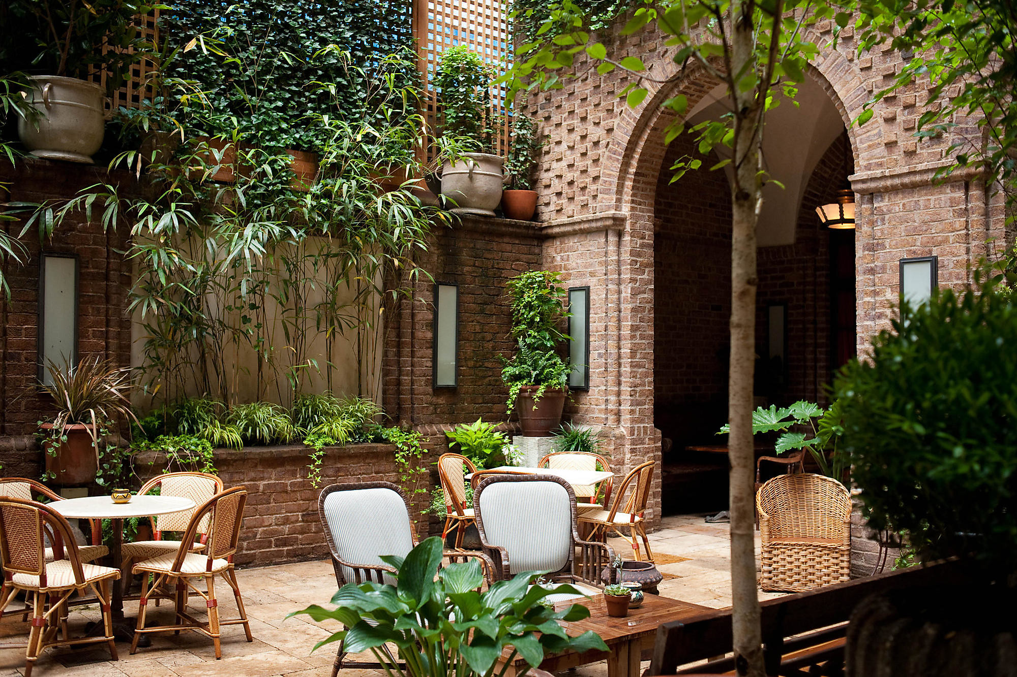 The charming courtyard at the Greenwich Hotel in New York City.