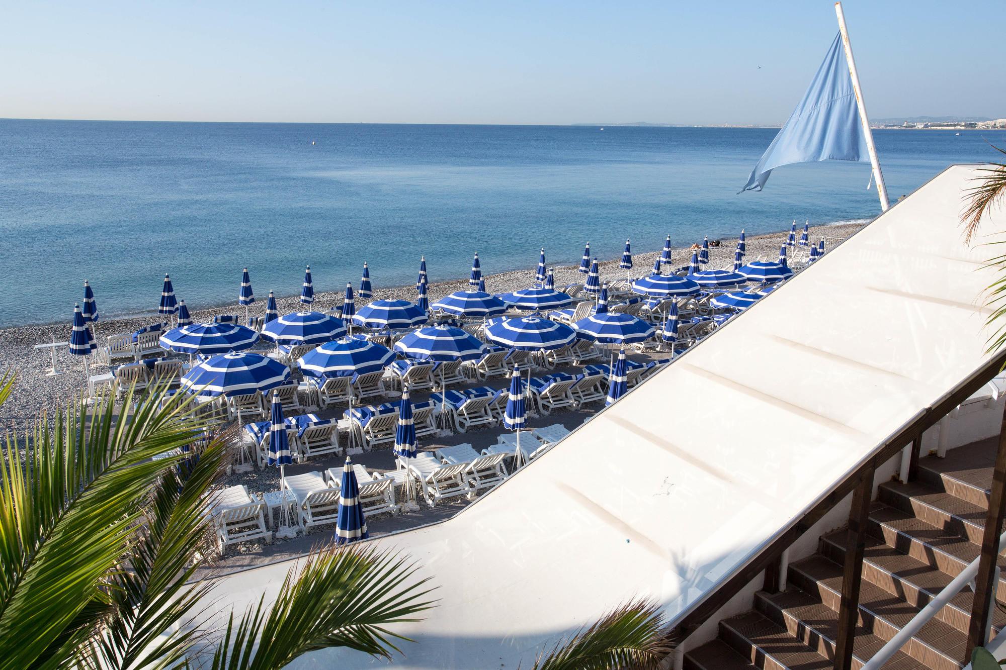 Beach at Hotel Beau Rivage, Nice