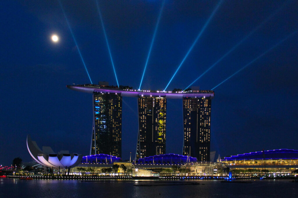 Exterior of Marina Bay Sands overlooking Marina Bay in Singapore