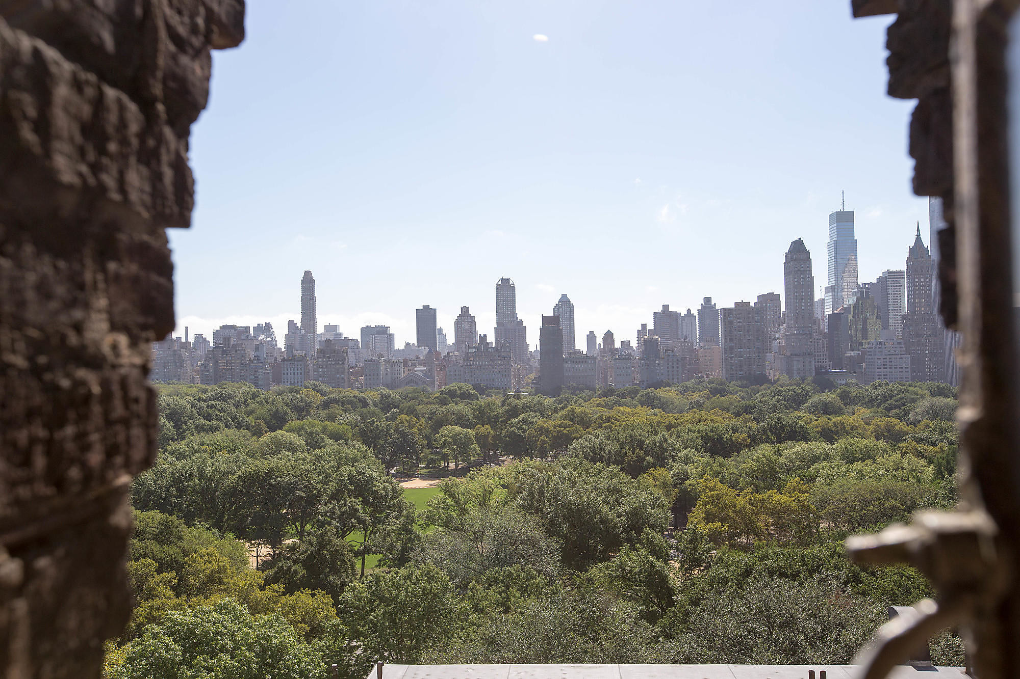 Central Park view from hallway at West Side YMCA in New York City.