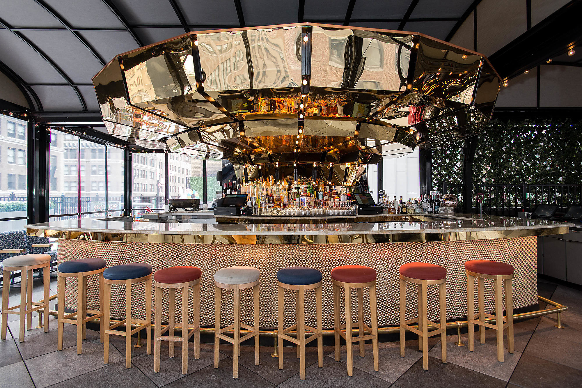 The rooftop bar at Moxy NYC Times Square.