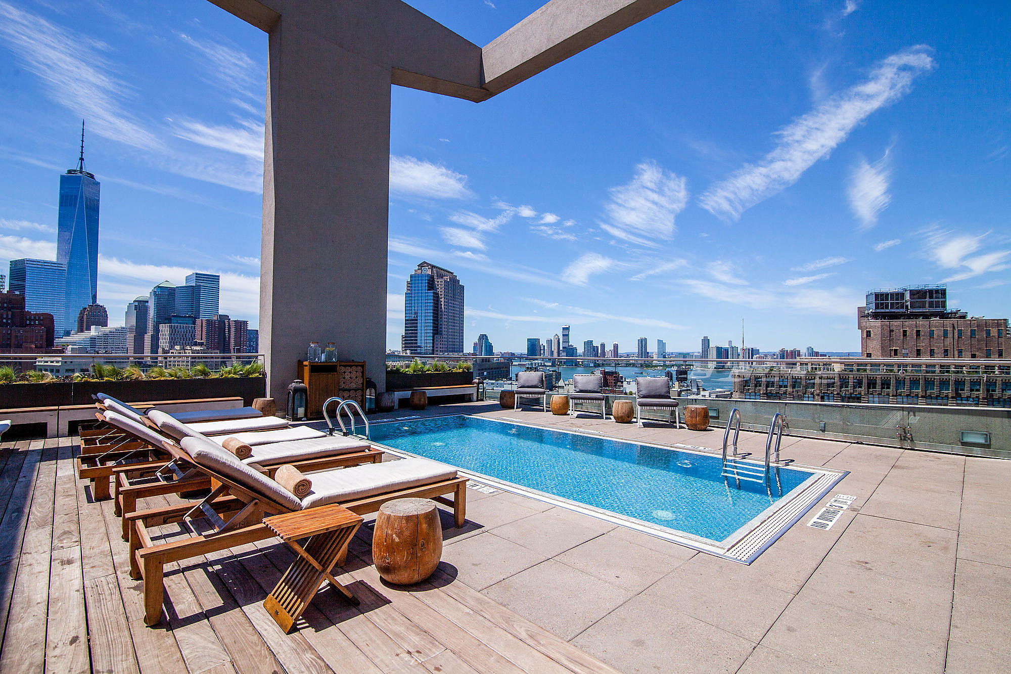 The pool and terrace at The James New York SoHo.