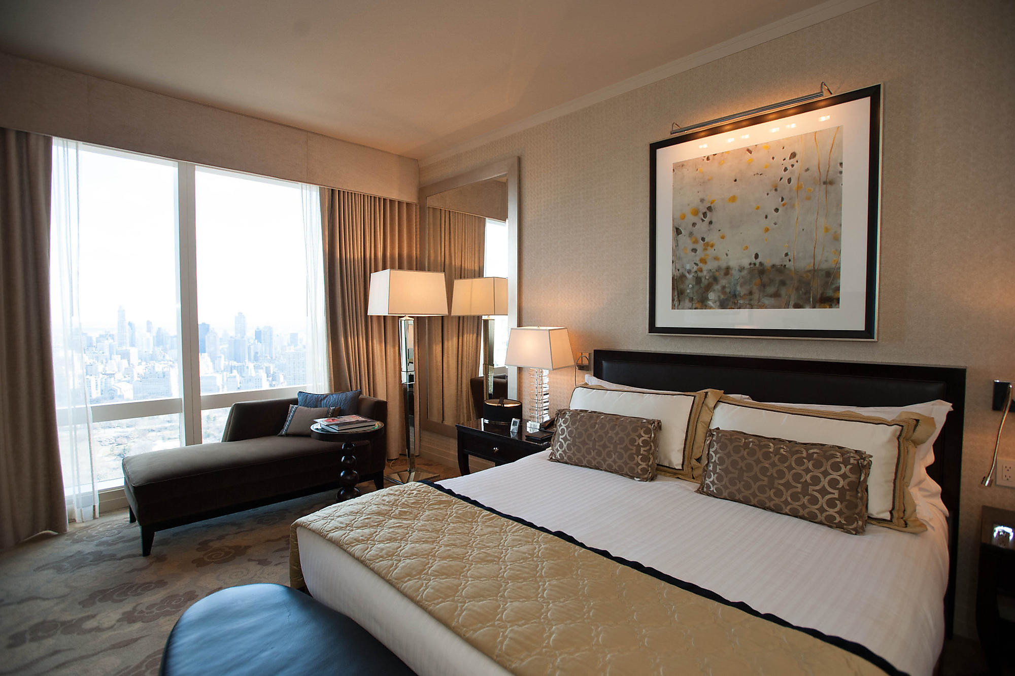 The Premier Central Park View Room at the Mandarin Oriental, New York.