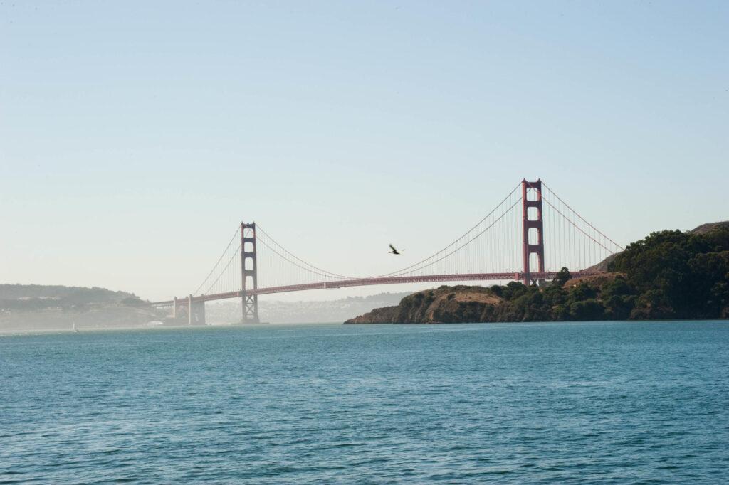 View of Golden Gate Bridge from Alcatraz Island, San Francisco