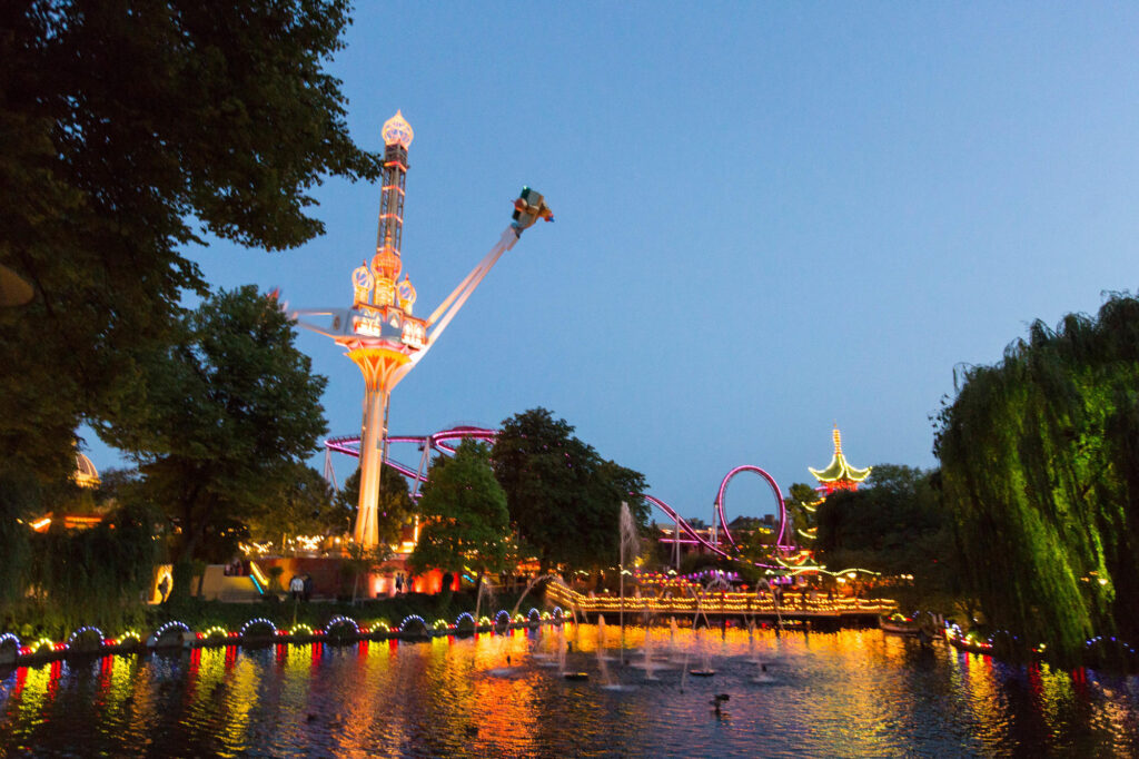 Tivoli in Copenhagen at dusk