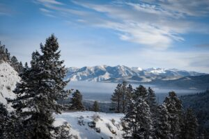 Snowy mountain view in Taos, New Mexico