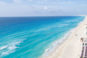 The beach view from Secrets The Vine Cancun