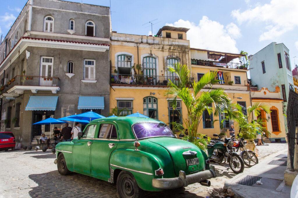 Green car in Havana, Cuba