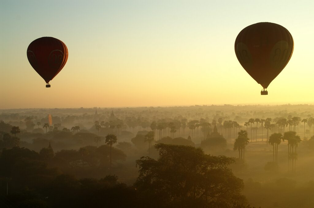 Flying over Bagan in a hot air balloon