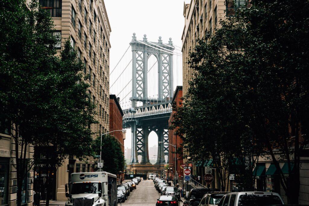 DUMBO street and bridge in Brooklyn