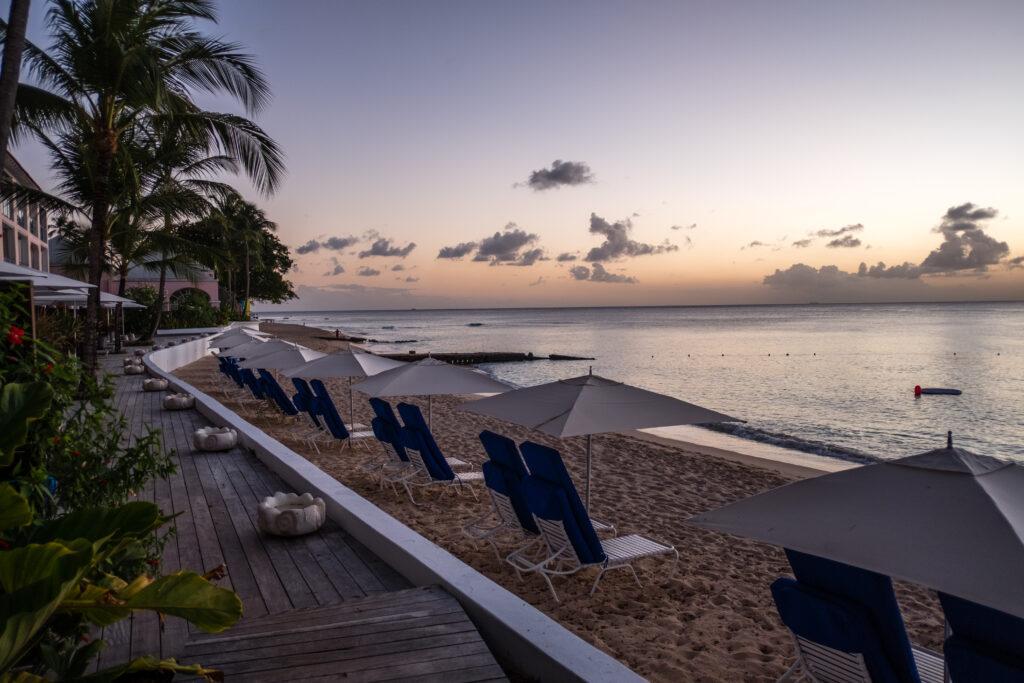Sunset on the beach at Fairmont Royal Pavilion