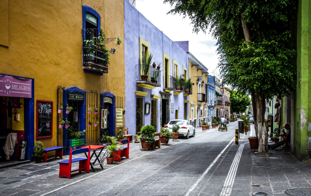 Pueblo street in Mexico