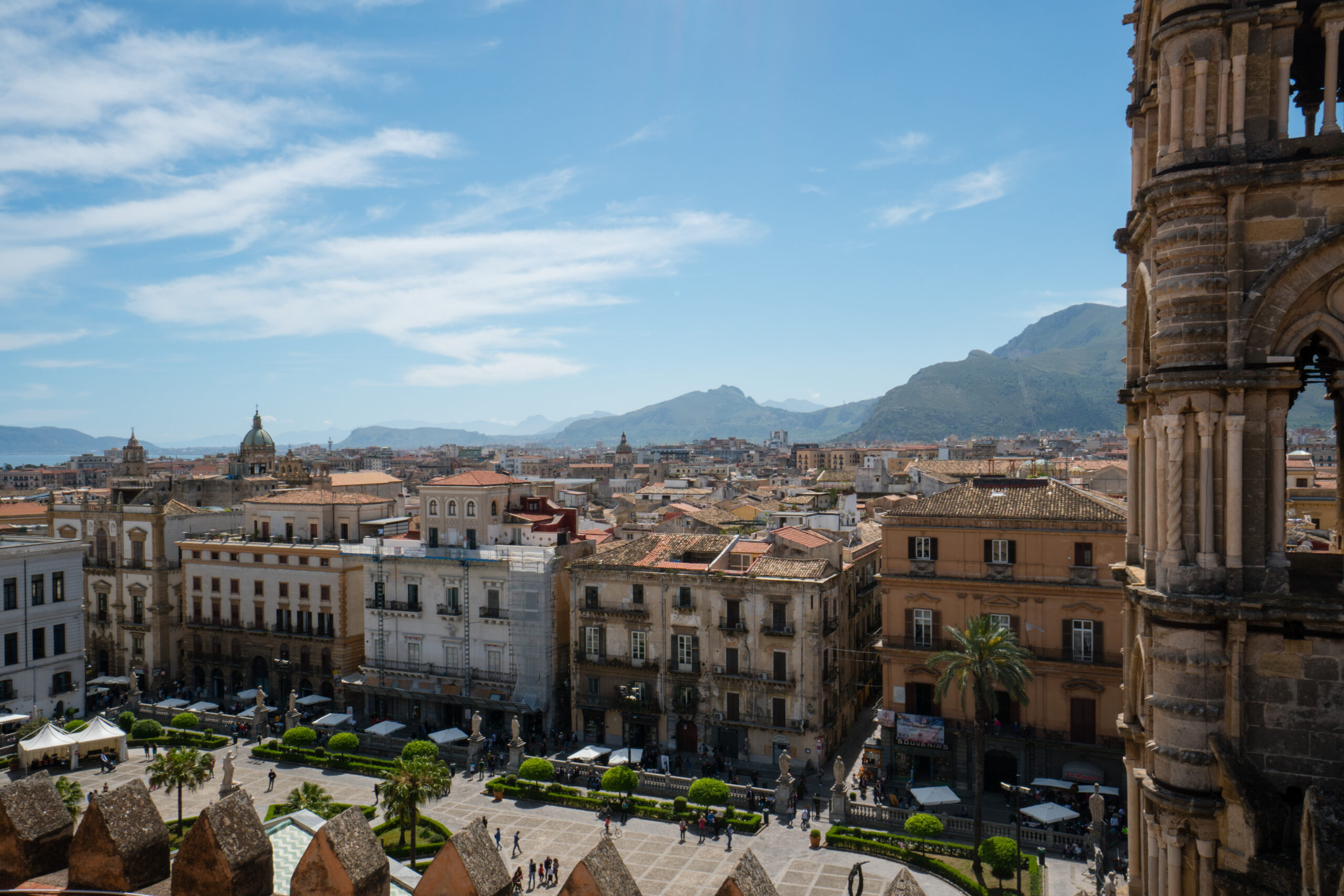 View of Palermo, Sicily, and mountains in the distance