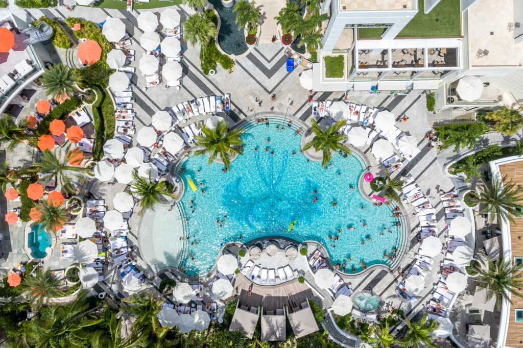 Aerial Photography of pool at the Loews Miami Beach Hotel