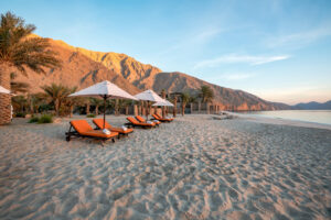 Beach at Six Senses Zighy Bay