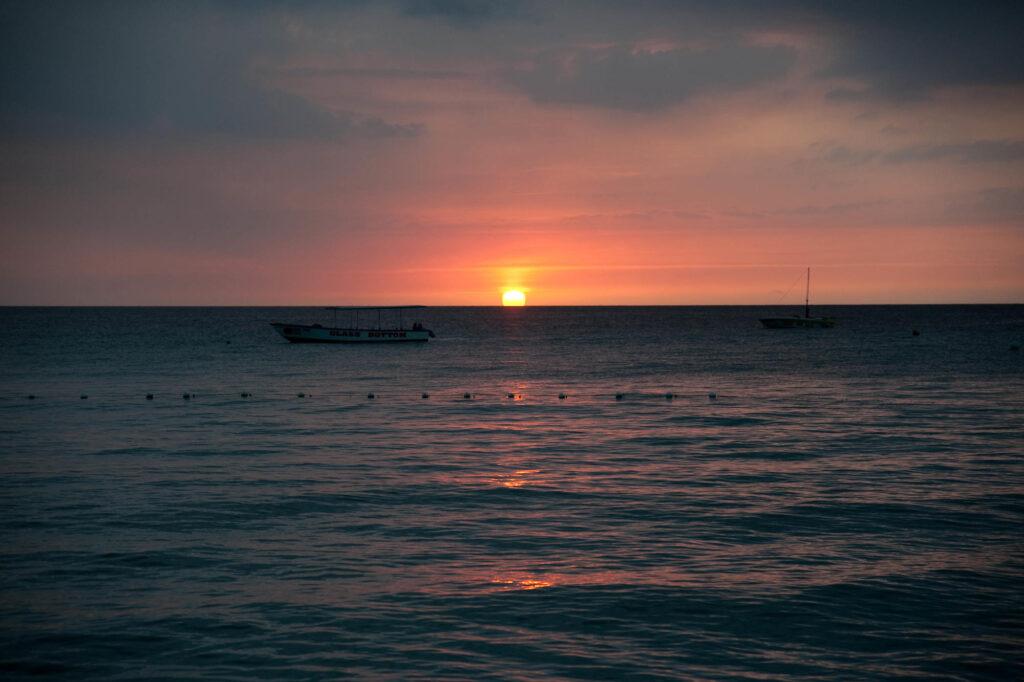Sunset over the ocean in Jamaica