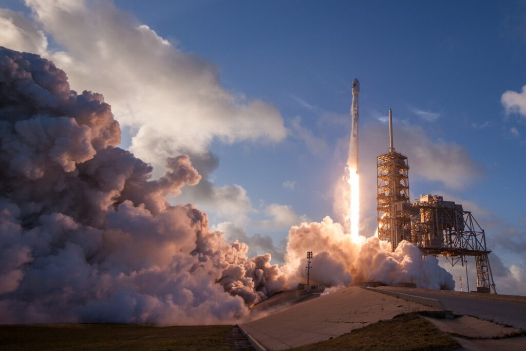 Rocket launch at Kennedy Space Center, United States