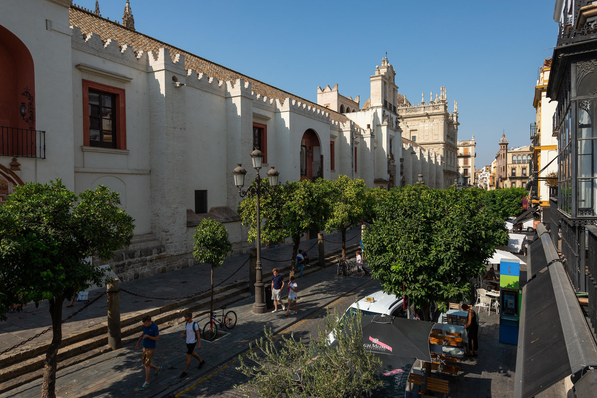 Street view from EME Catedral Hotel in Seville, Spain