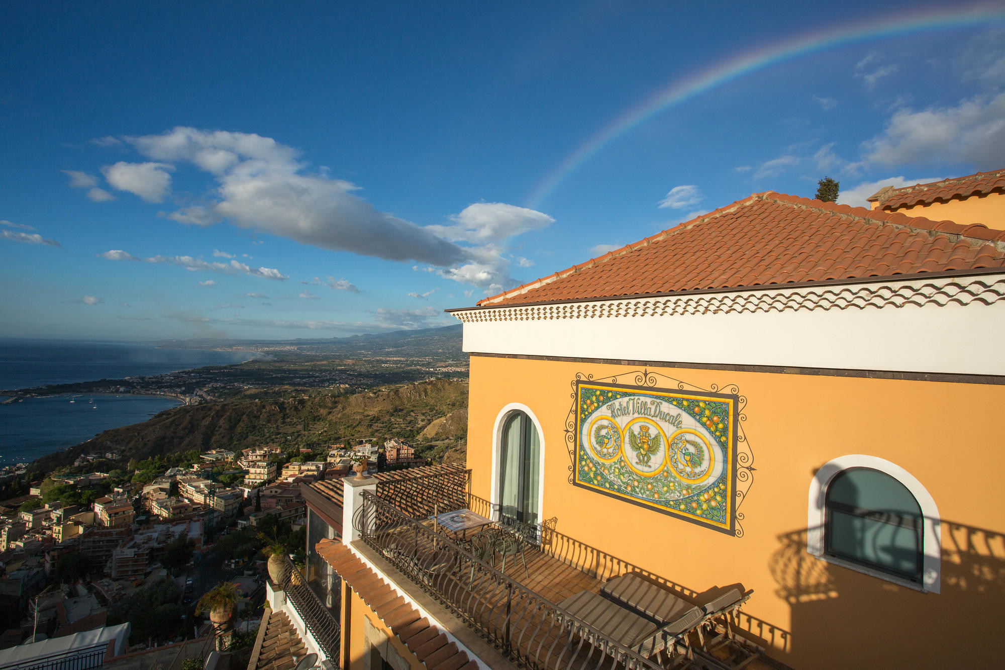Rainbow over the coastal view from Hotel Villa Ducale in Taormina, Sicily