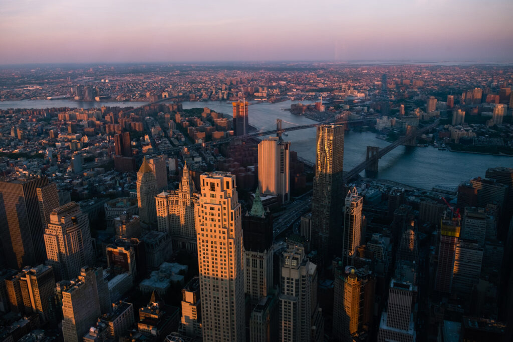 New York City at sunset from Freedom Tower