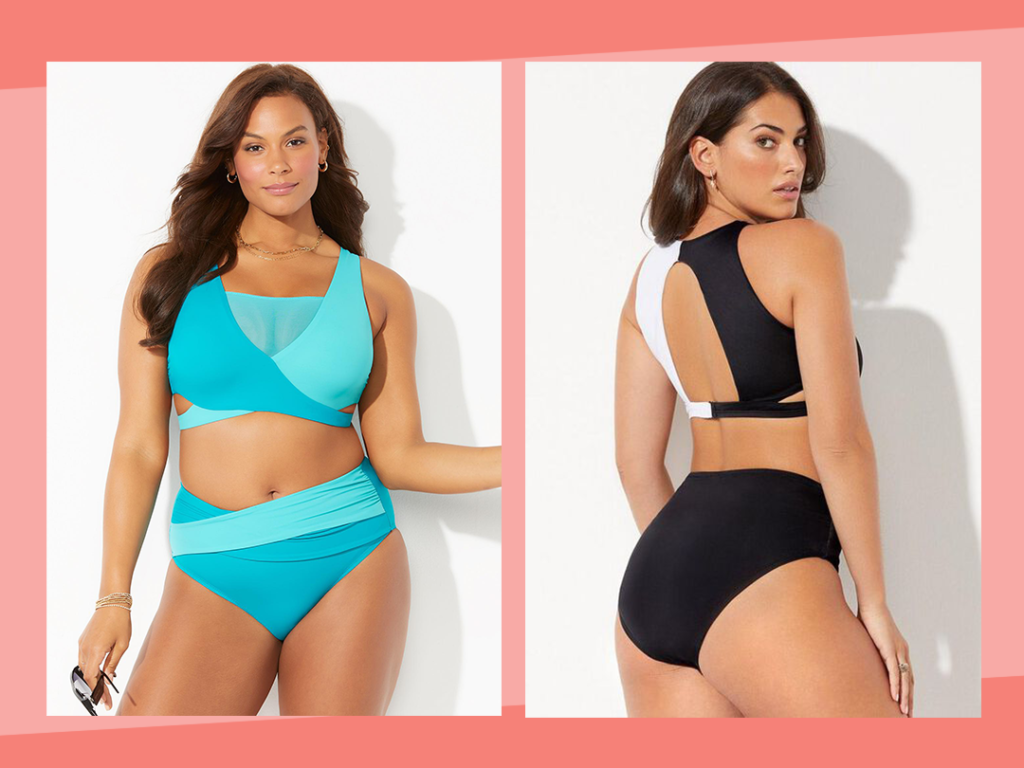 Swimsuits for All HOLLYWOOD COLORBLOCK WRAP BIKINI SET