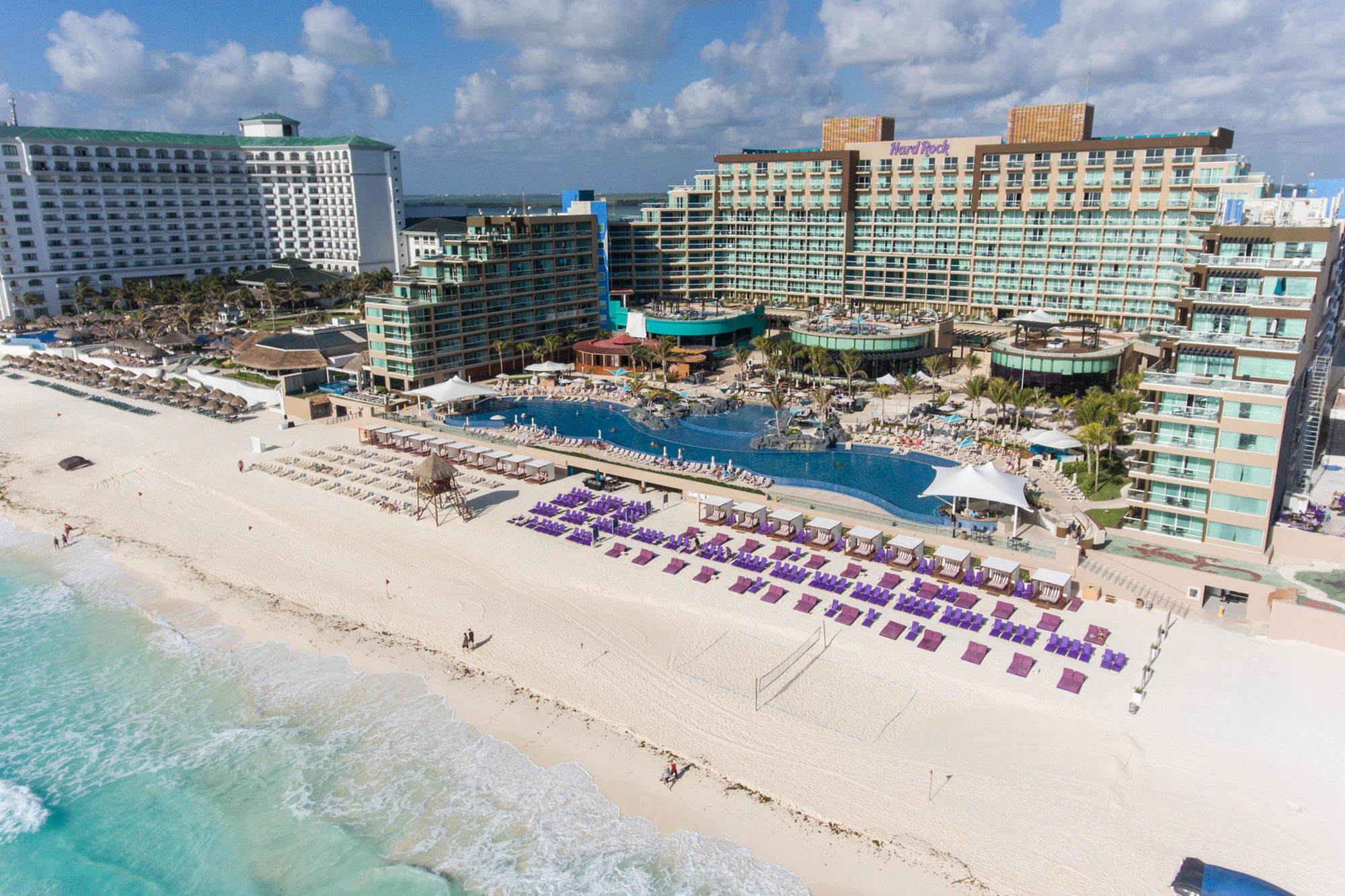 Aerial view of the beach and pools at the Hard Rock Cancun