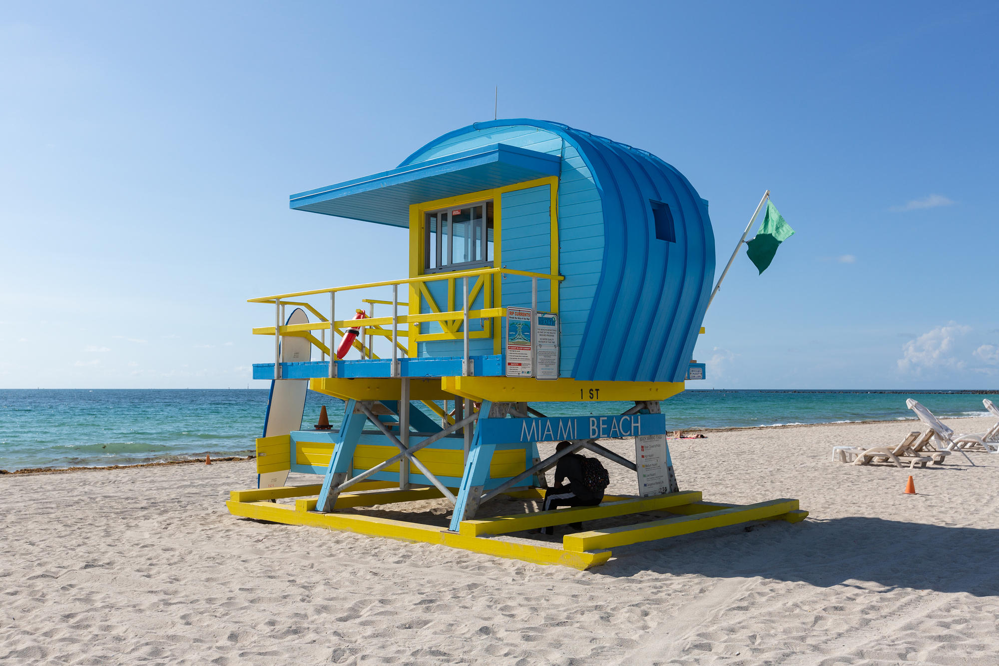 Lifeguard tower on the beach in Miami