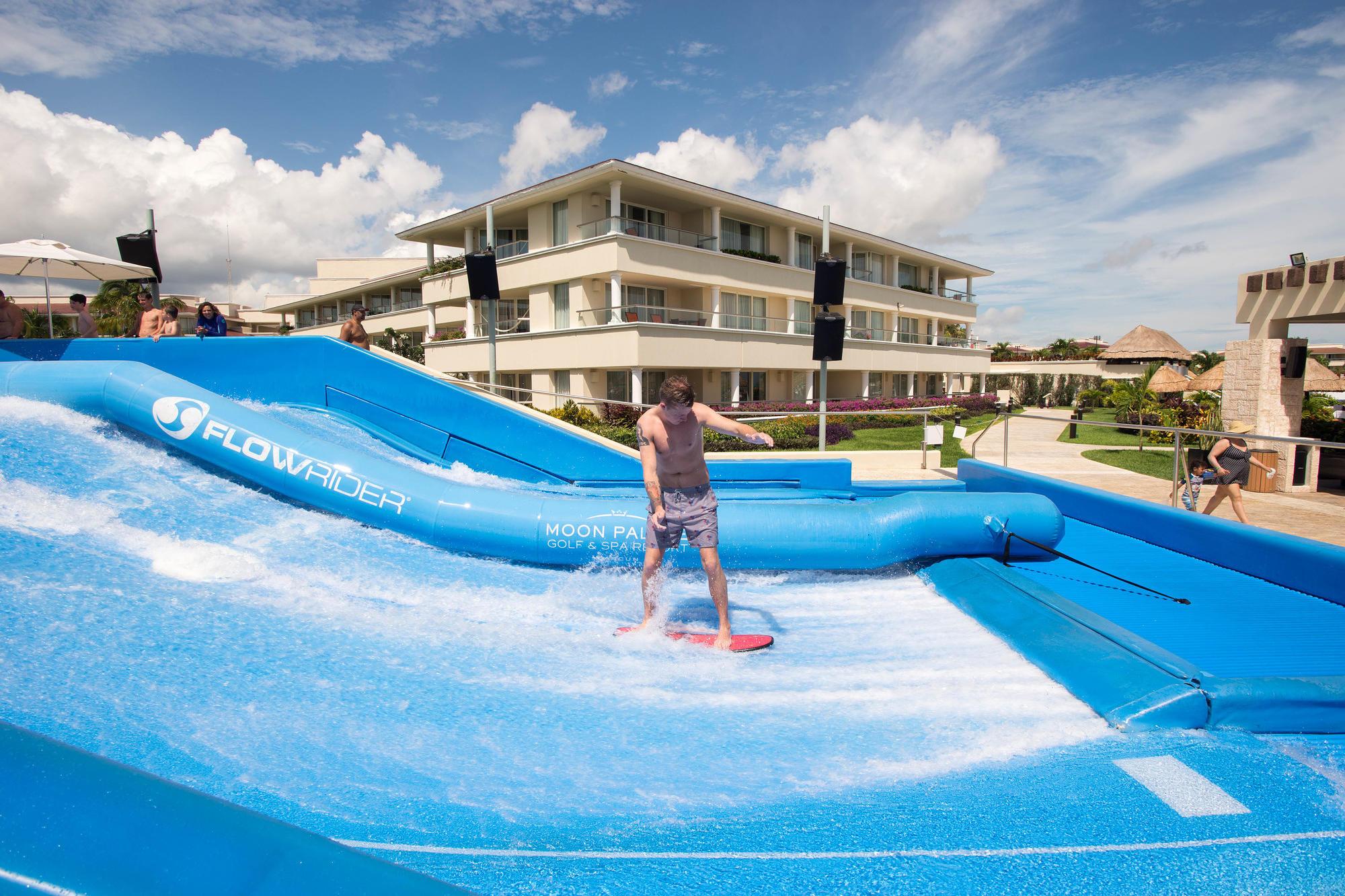 The Flowrider surf simulator at Moon Palace Cancun