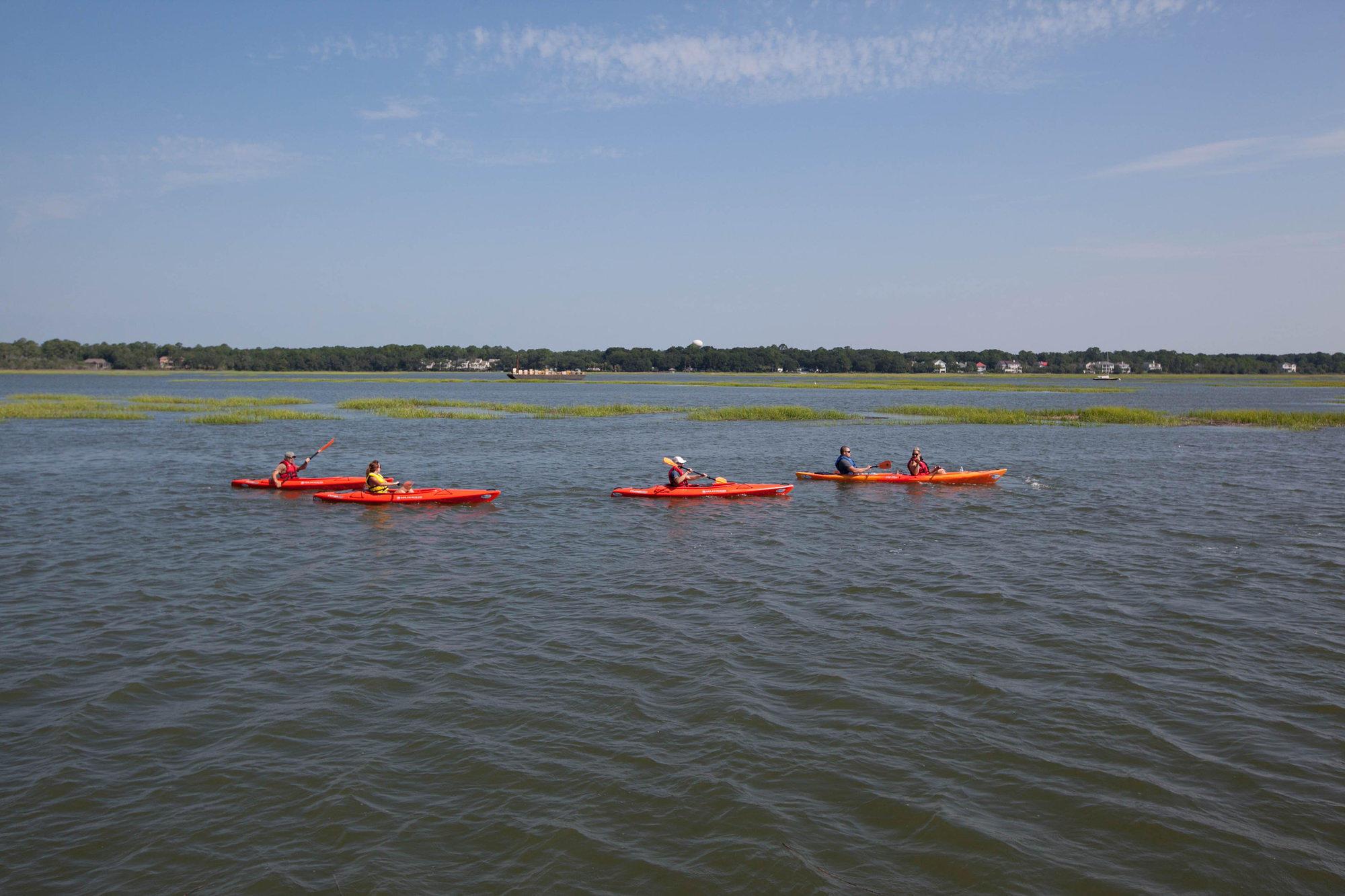 Kayaking the lagoon near Hilton Head, Georgia
