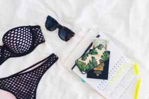 Bikini, sunglasses, money, passport