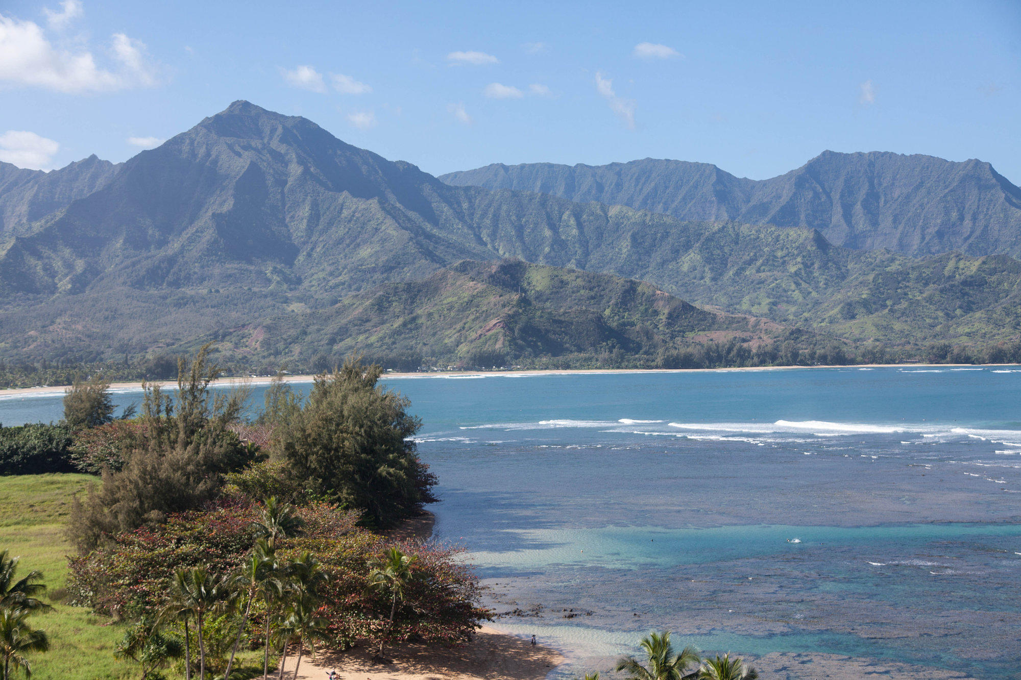 The view over Hanalei Bay and mountains from the Princeville Resort