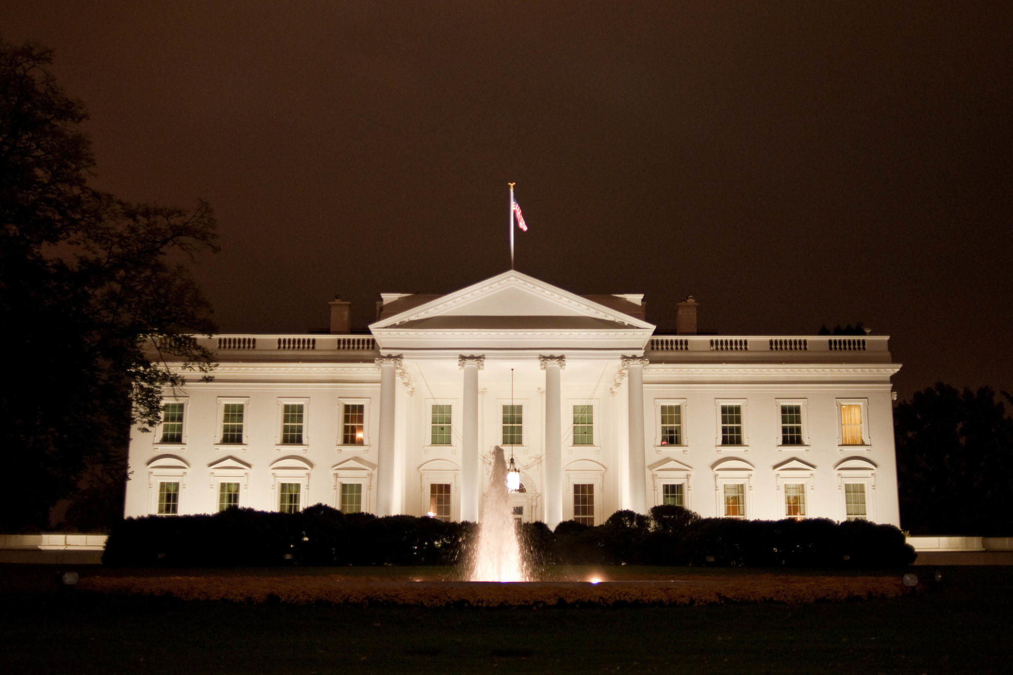 The White House lit up at night in Washington, D.C.