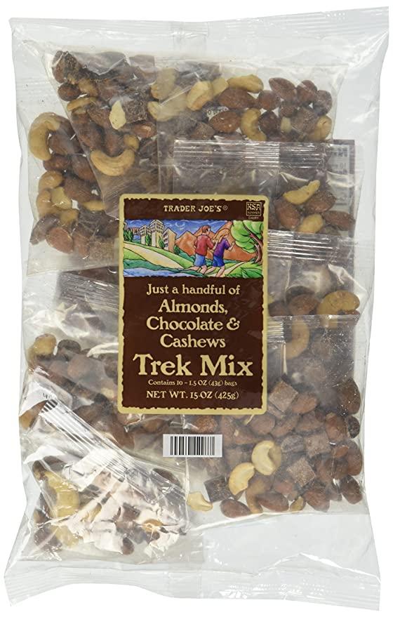 trader joe's almonds, cashews, chocolate trail mix