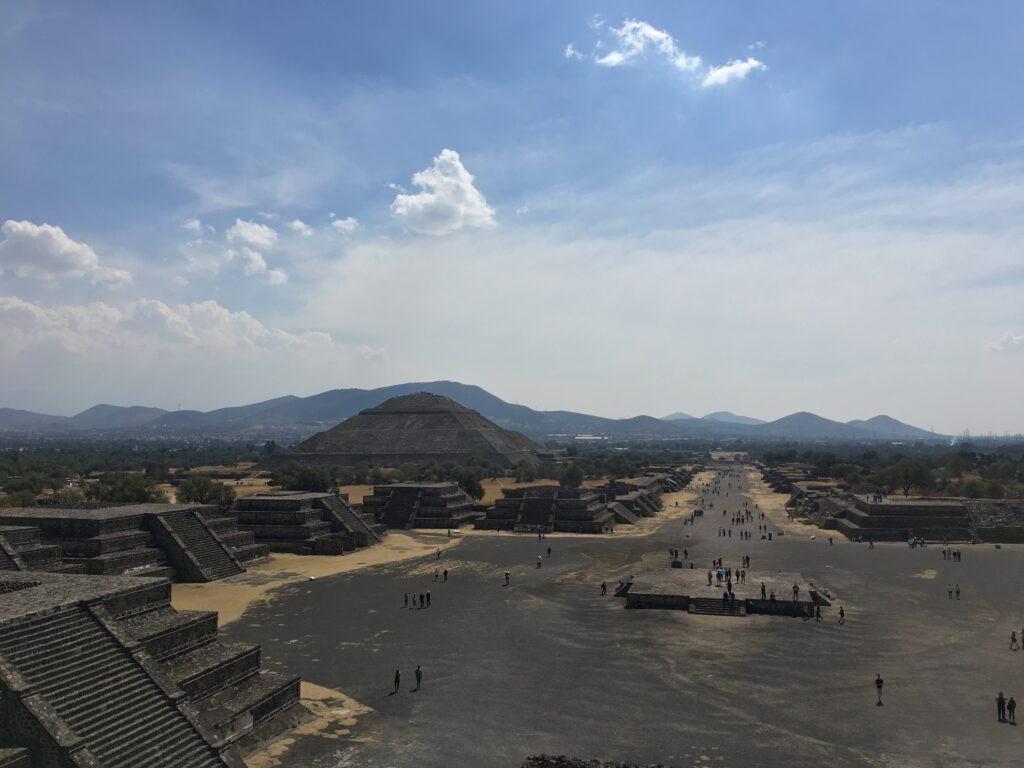 View of the Pyramid of the Sun at Teotihuacan, north of Mexico City.