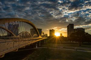 Backlit skyline of Fort Worth, Texas