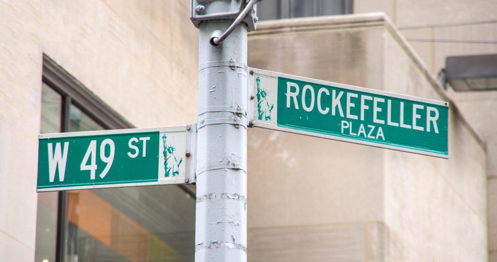 Rockefeller Plaza road sign