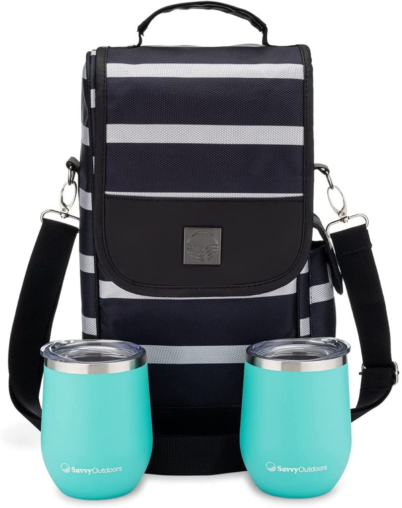 One Savvy Girl Wine Tote Bag with Stainless Steel Stemless Wine Glasses
