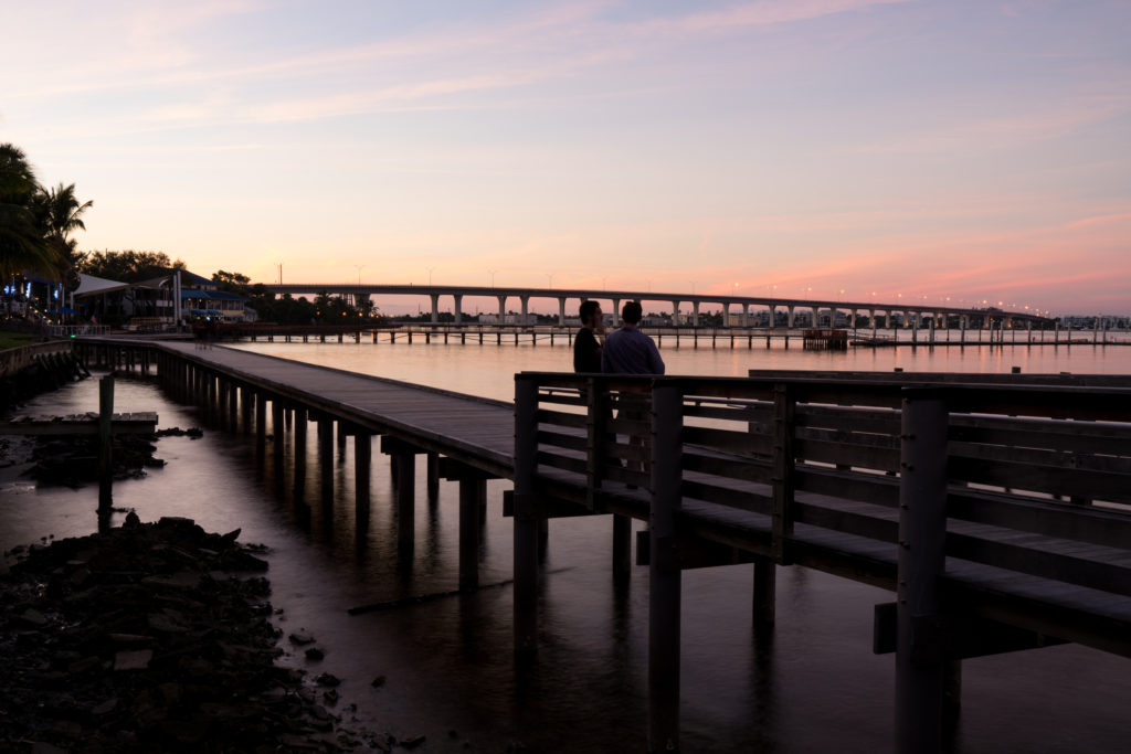 Two people watching the sunset in Stuart, Florida