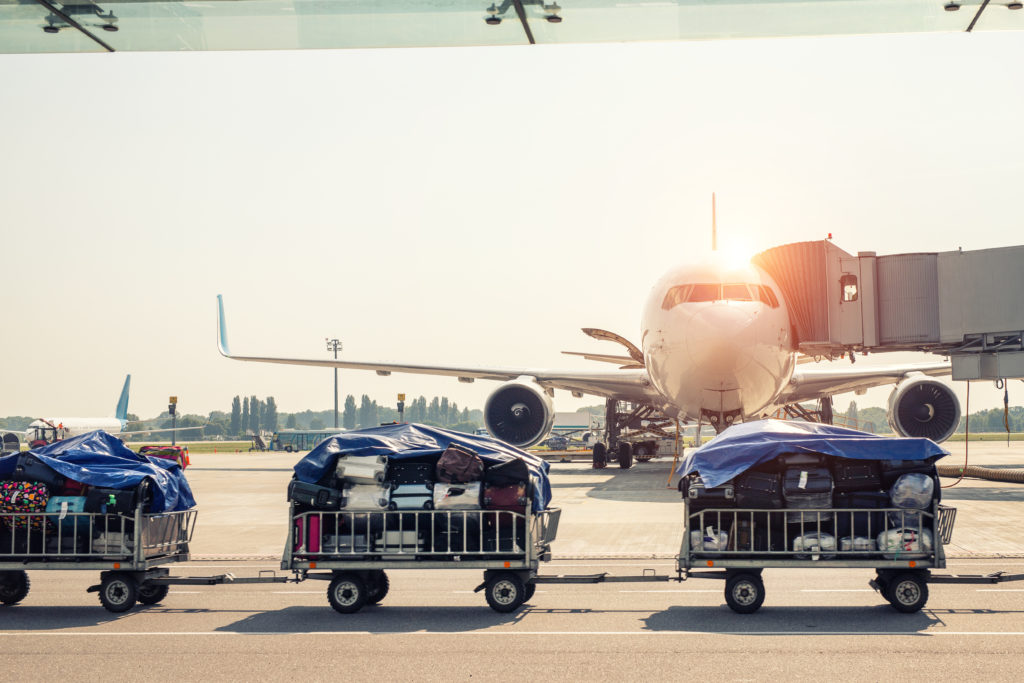 Luggage on carts on airport tarmac next to plane