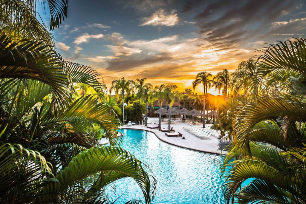 View of the pool at Caliente Resort in Florida