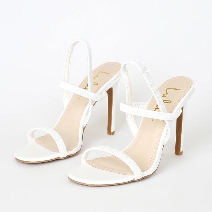 Babie White Strappy High Heel Sandals