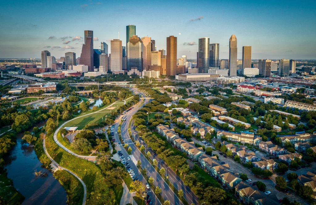 Houston, Texas skyline from a distance