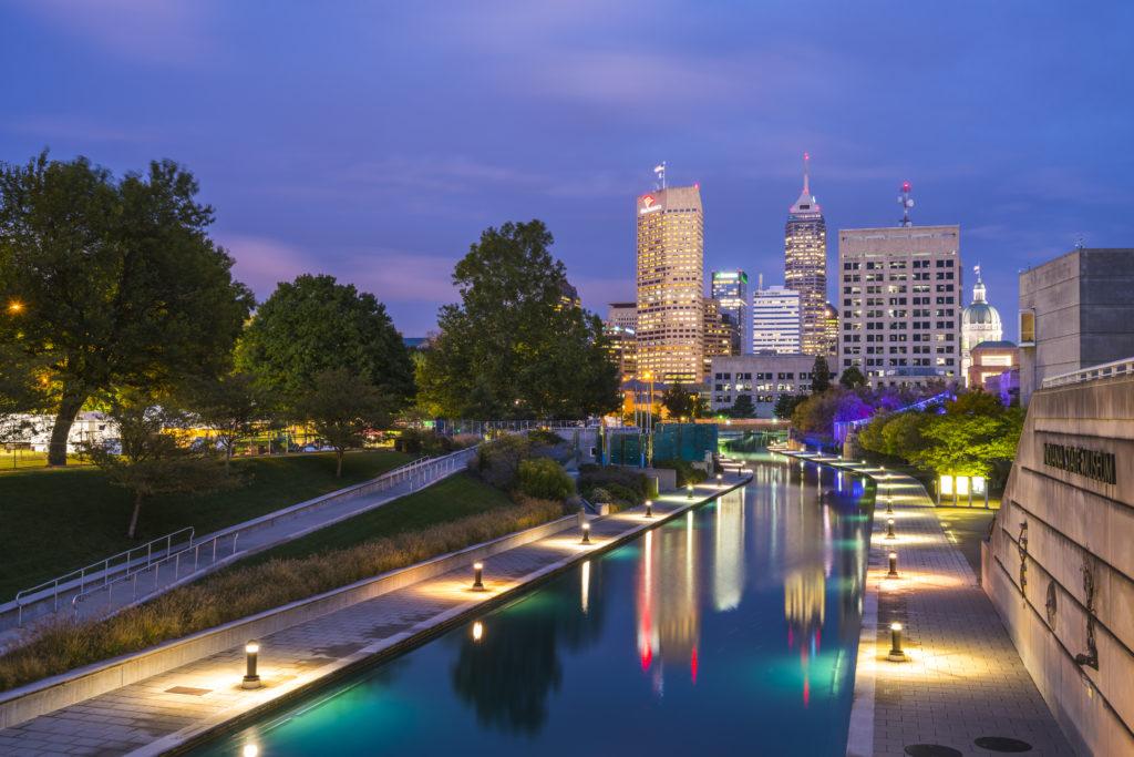 Indianapolis skyline at dusk
