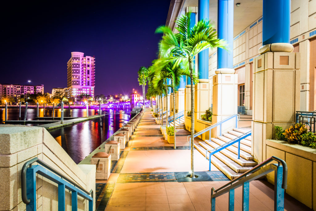 The Convention Center and Riverwalk at night in Tampa, Florida.