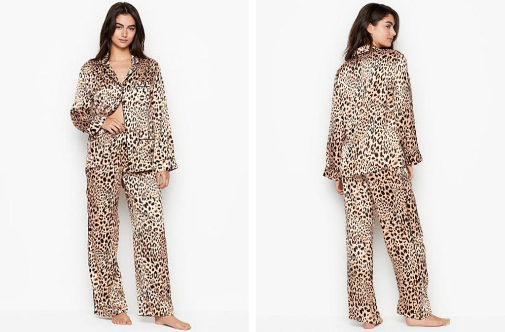 Victoria's Secret Silk Long PJ set in Leopard Print