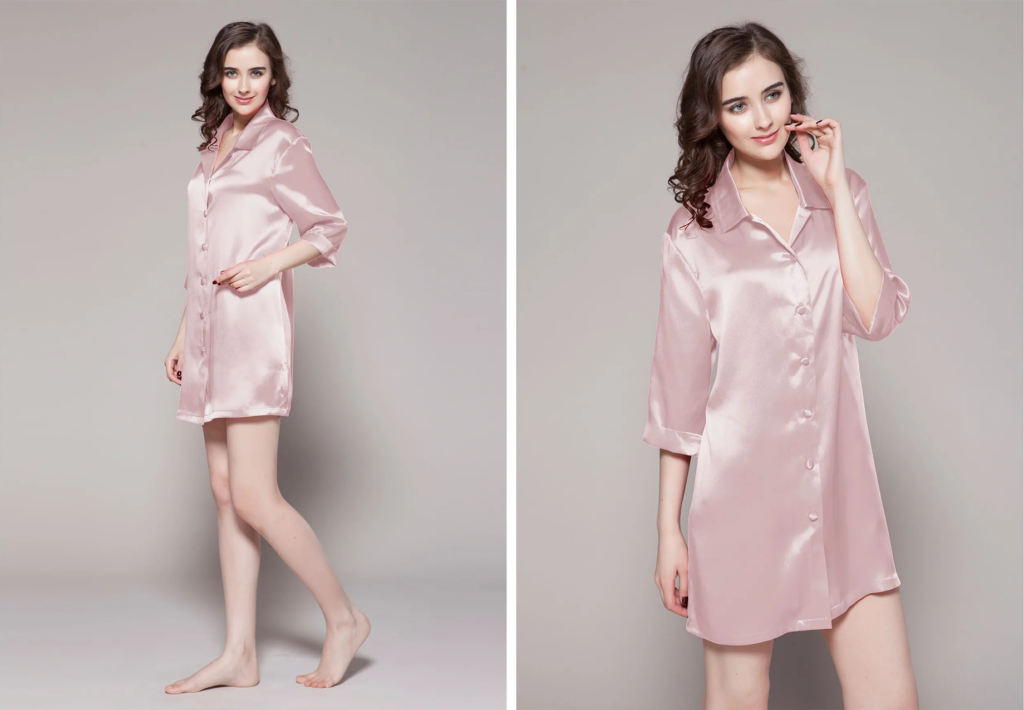 22 Momme Classic Silk Nightshirt in Pink