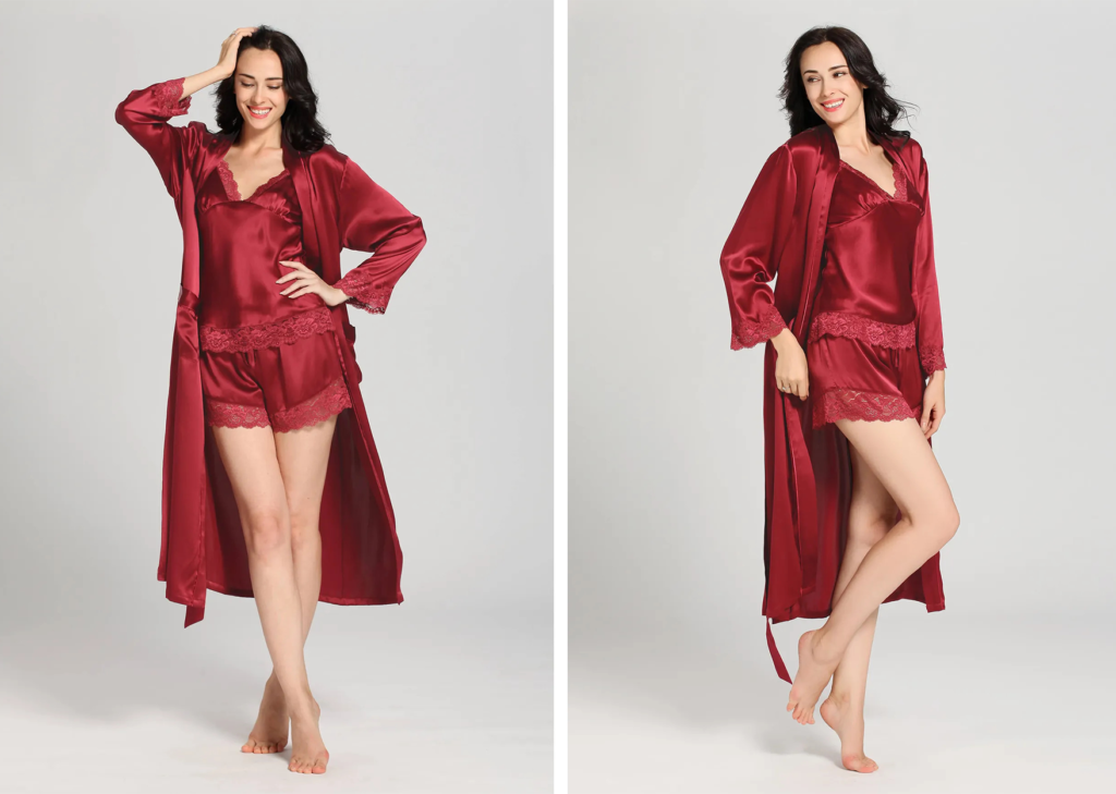 22 Momme Lace Silk Camisole & Robe Set in Red