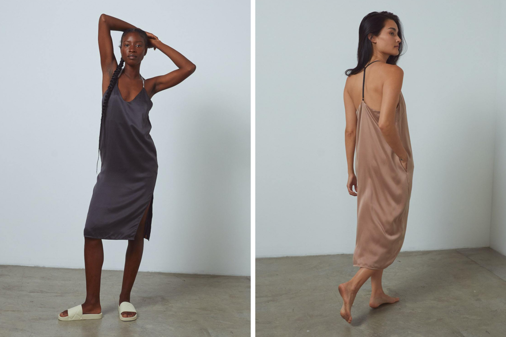 Lunya Washable Silk Slip Dress in Grey and Tan