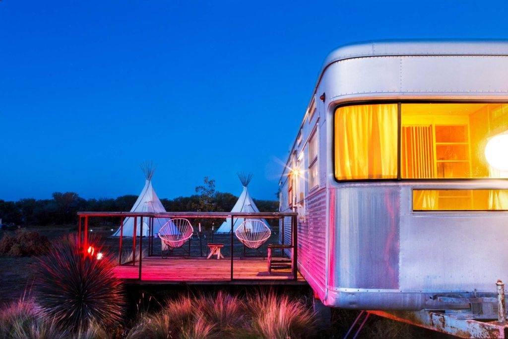 Glamping tents at El Cosmico